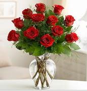 Vazo içerisinde 12 kırmızı gül  Burdur çiçek satışı