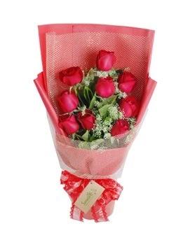 9 adet kırmızı gülden görsel buket  Burdur ucuz çiçek gönder