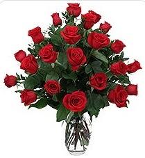 Burdur çiçek siparişi sitesi  24 adet kırmızı gülden vazo tanzimi