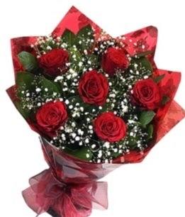 6 adet kırmızı gülden buket  Burdur yurtiçi ve yurtdışı çiçek siparişi