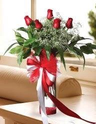 Camda 5 kırmızı gül tanzimi  Burdur çiçekçi telefonları