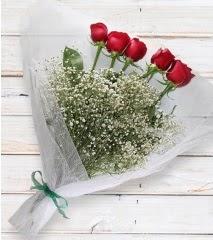 5 kırmızı gülden sade buket  Burdur çiçek yolla