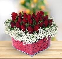 15 kırmızı gülden kalp mika çiçeği  Burdur çiçek satışı