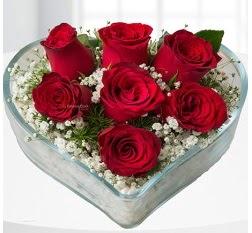 Kalp içerisinde 7 adet kırmızı gül  Burdur çiçek servisi , çiçekçi adresleri