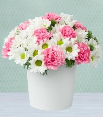 Seramik vazoda papatya ve kır çiçekleri  Burdur çiçek siparişi sitesi