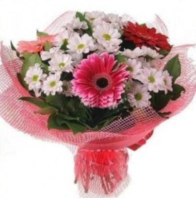 Gerbera ve kır çiçekleri buketi  Burdur internetten çiçek siparişi