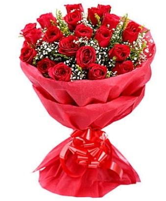21 adet kırmızı gülden modern buket  Burdur çiçek gönderme