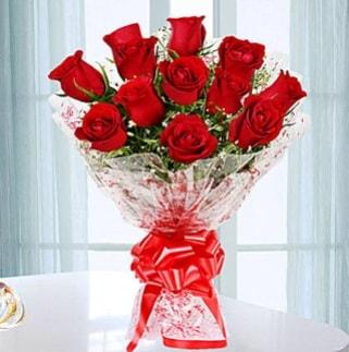 11 adet kırmızı gülden görsel şık buket  Burdur ucuz çiçek gönder