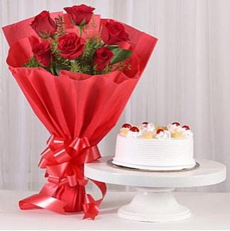 6 Kırmızı gül ve 4 kişilik yaş pasta  Burdur çiçek , çiçekçi , çiçekçilik