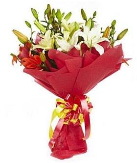 5 dal kazanlanka lilyum buketi  Burdur çiçek gönderme sitemiz güvenlidir
