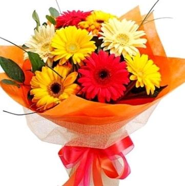 9 adet karışık gerbera buketi  Burdur çiçek , çiçekçi , çiçekçilik