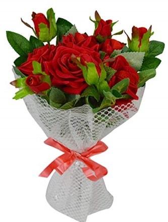 9 adet kırmızı gülden sade şık buket  Burdur çiçekçi telefonları