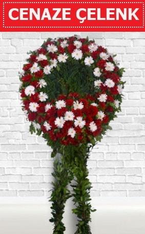 Kırmızı Beyaz Çelenk Cenaze çiçeği  Burdur İnternetten çiçek siparişi