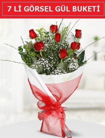 7 adet kırmızı gül buketi Aşk budur  Burdur çiçek satışı