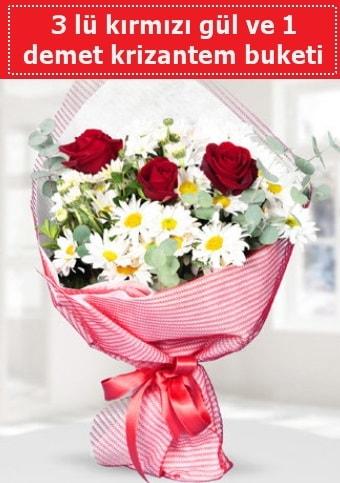 3 adet kırmızı gül ve krizantem buketi  Burdur çiçek gönderme sitemiz güvenlidir