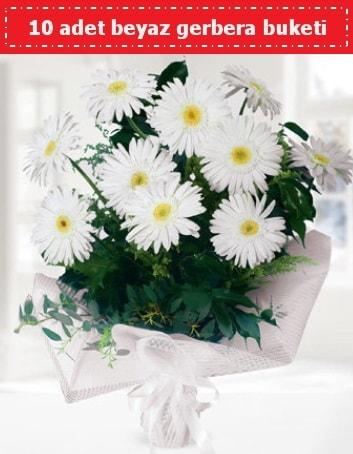 10 Adet beyaz gerbera buketi  Burdur çiçek , çiçekçi , çiçekçilik