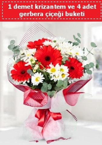 Krizantem ve Gerbera Buketi  Burdur çiçek siparişi sitesi