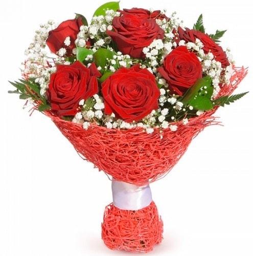 7 adet kırmızı gül buketi  Burdur çiçekçiler